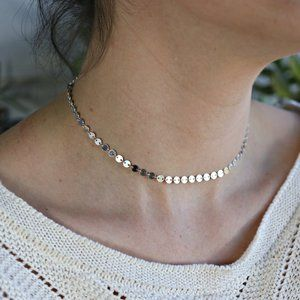 Dainty Silver Chain Choker Necklace